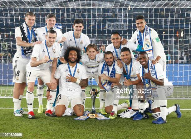 22 December 2018 United Arab Emirates Abu Dhabi Real Madrid players celebrate with the trophy after the end of the FIFA Club World Cup Final soccer...