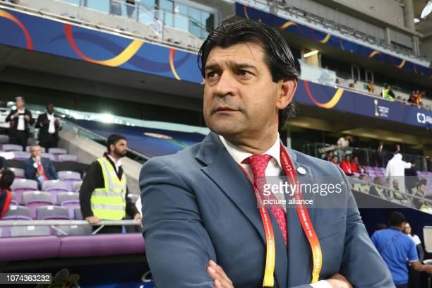December 2018, United Arab Emirates, Al Ain: CD Guadalajara coach Jose Cardozo during the FIFA Club World Cup fifth place soccer match between ES...