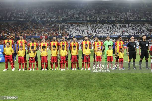 15 December 2018 United Arab Emirates Al Ain Players of ES Tunis line up prior to the start of the FIFA Club World Cup Quarterfinal soccer match...