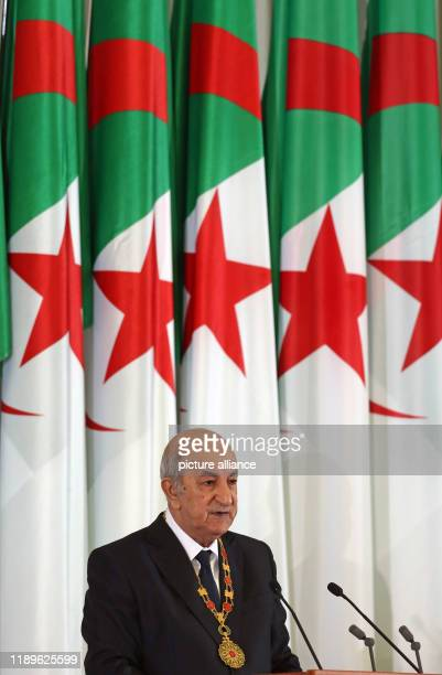 Algerian President Abdelmadjid Tebboune speaks during his swearingin ceremony Photo Farouk Batiche/dpa