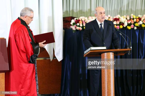 Algerian Presidentelect Abdelmadjid Tebboune takes the oath during the swearingin ceremony Photo Farouk Batiche/dpa