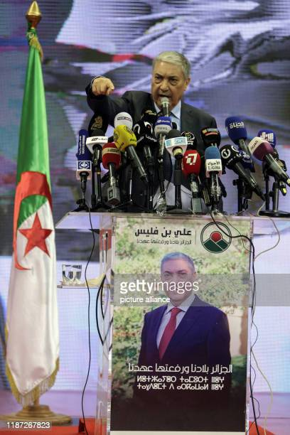 December 2019, Algeria, Algiers: Algerian presidential candidate and head of Talaie El-Hurriyet party, Ali Benflis, speaks to supporters during a...