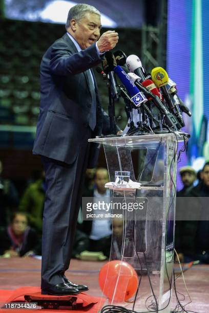 Algerian presidential candidate and head of Talaie ElHurriyet party Ali Benflis speaks to supporters during a campaign rally in Algiers Photo Farouk...