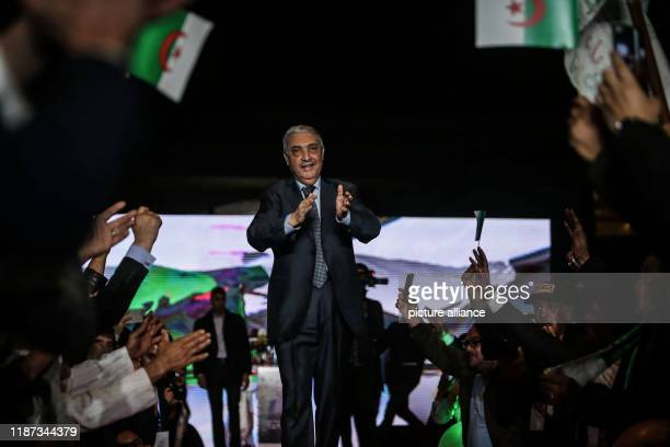 December 2019, Algeria, Algiers: Algerian presidential candidate and head of Talaie El-Hurriyet party, Ali Benflis, greets supporters during a...