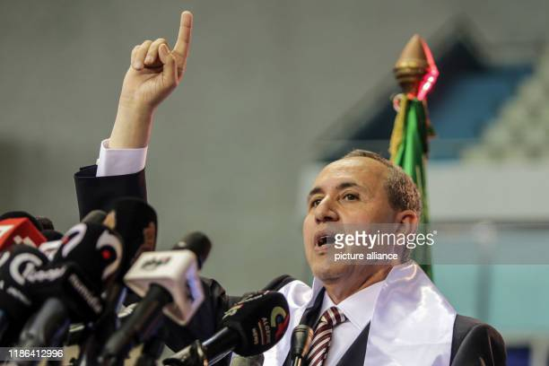 December 2019, Algeria, Algiers: Azzedine Mihoubi, presidential candidate and Secretary General of the Democratic National Rally , delivers a speech...