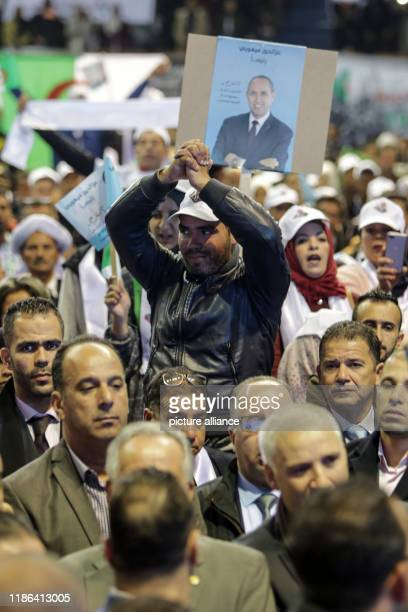 December 2019, Algeria, Algiers: Supporters of Azzedine Mihoubi, presidential candidate and Secretary General of the Democratic National Rally ,...