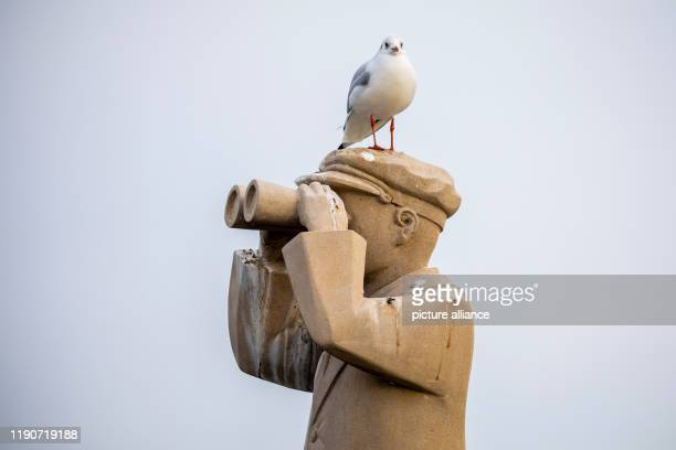 """December 2019, Lower Saxony, Wunstorf: A seagull is standing on the sculpture """"The Harbour Master"""" by Damjen Lajic at the Steinhuder Meer in cloudy..."""