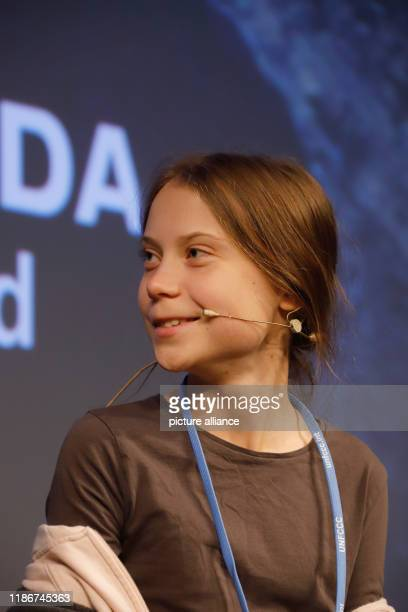 December 2019, Spain, Madrid: Climate activist Greta Thunberg from Sweden takes part in a press conference with other young activists. Thunberg is to...