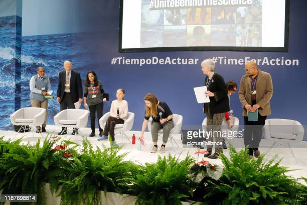 December 2019, Spain, Madrid: Luisa Neubauer , German climate activist, and Greta Thunberg , Swedish climate activist, are at the UN Climate Change...