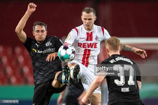 December 2020, North Rhine-Westphalia, Cologne: Football: DFB Cup, 1st FC Cologne - VfL Osnabrück, 2nd round at RheinEnergieStadion. Cologne's Ondrej...