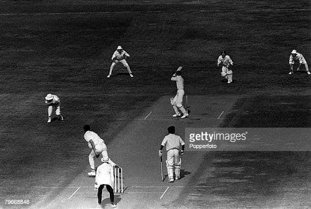 December 20th Sport Cricket Indian skipper Ajit Wadekar hits from the bowling of England's Bob Cottam on the first day of the New Delhi first test...