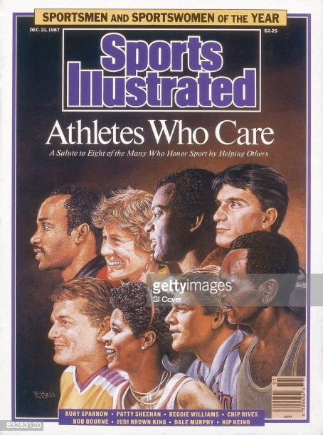 December 21 1987 Sports Illustrated via Getty Images Cover Athletes Who Care Sportspersons of the Year Illustration of Top Row Chicago Bulls...