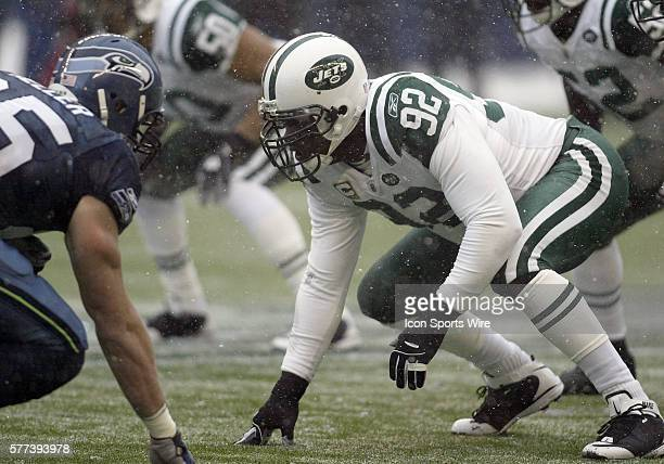 NY Jets defensive end Shaun Ellis gets set at the line of scrimmage against the Seattle Seahawks at Quest Field in Seattle WA Seattle won 133 over...