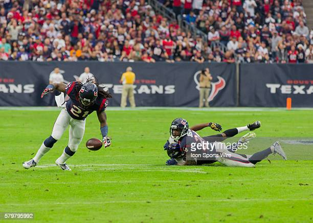Houston Texans Safety Kendrick Lewis and Houston Texans Cornerback Johnathan Joseph during the NFL game between the Baltimore Ravens and the Houston...