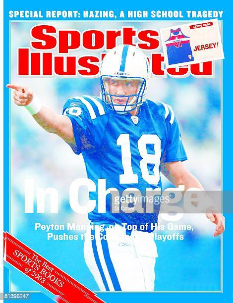 December 22 2003 Sports Illustrated Cover Football Indianapolis Colts QB Peyton Manning pointing during game vs Atlanta Falcons Indianapolis IN
