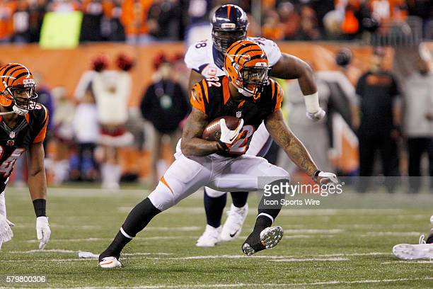 Cincinnati Bengals running back Jeremy Hill runs with the ball during the third quarter of the Bengals 3728 win over the Denver Broncos at Paul Brown...