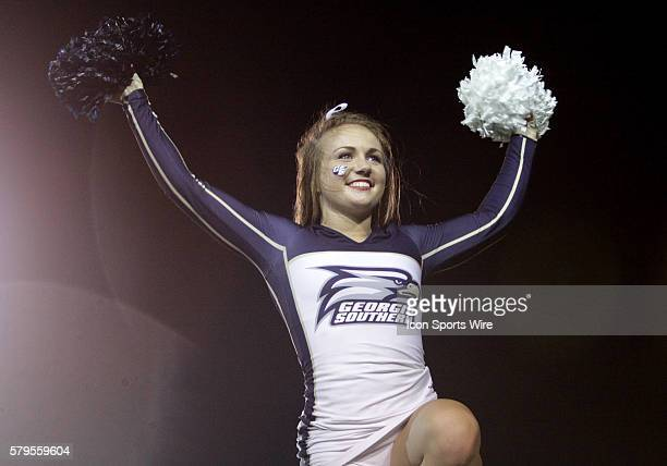 A Georgia Southern cheerleader performs during the GoDaddy Bowl between the Georgia Southern Eagles and the Bowling Green Falcons at LaddPeebles...