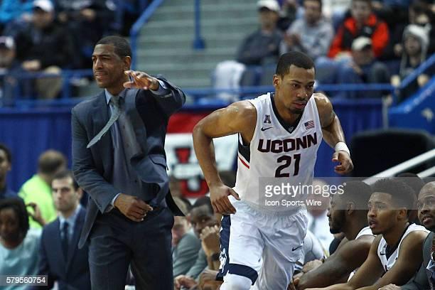 December 23 2015 UConn's Head Coach Kevin Ollie sends in UConn's Guard Omar Calhoun during a NCAA D1 men's basketball game between the Central...