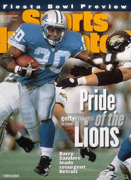 December 25 1995 January 1 1996 Sports Illustrated via Getty Images CoverFootball Detroit Lions Barry Sanders in action rushing vs Jacksonville...