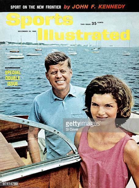 December 26 1960 Sports Illustrated Cover Yachting Portrait of United States President Elect John F Kennedy with wife Jackie Kennedy aboard yacht...