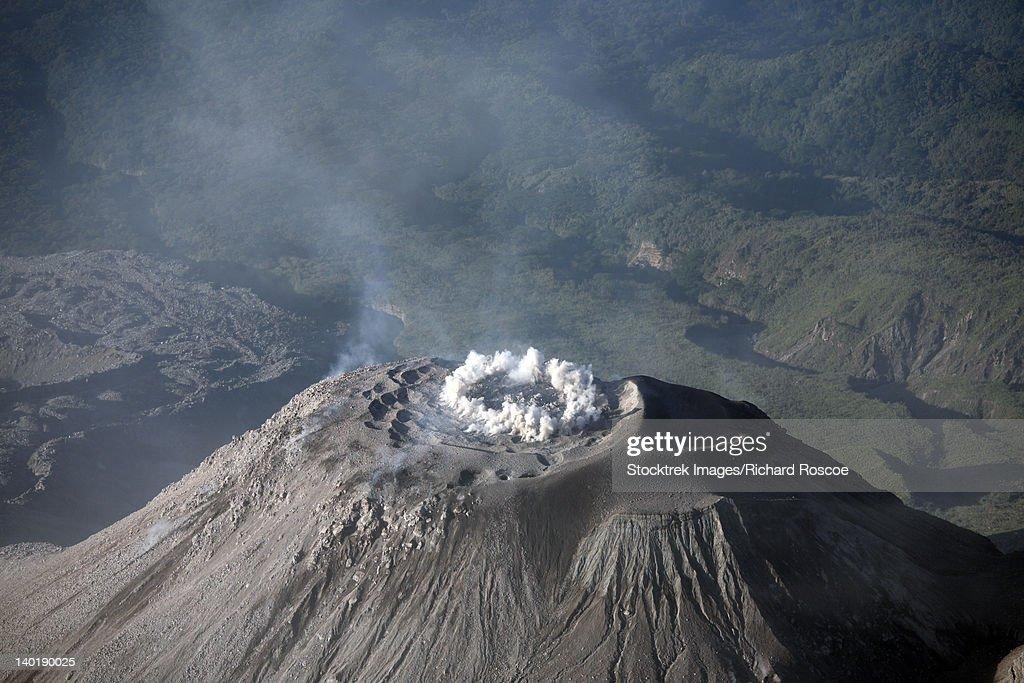 December 26, 2007 - Eruption through ring fissure at summit of Santiaguito dome complex, Santa Maria volcano, Guatemala. : Stock Photo