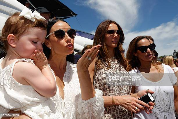 Celebrity sailors wives Terry Biviano with daughter Azura and Kyly Clarke farewells the crew of Perpetual Loyal prior to the start of the Sydney to...