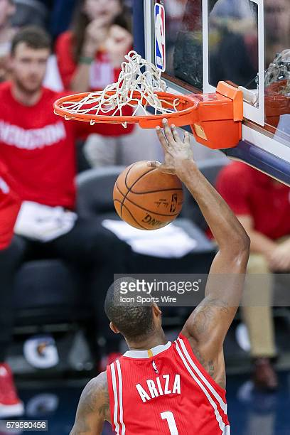 Houston Rockets forward Trevor Ariza dunks the ball during the game between the New Orleans Pelicans and the Houston Rockets at the Smoothie King...