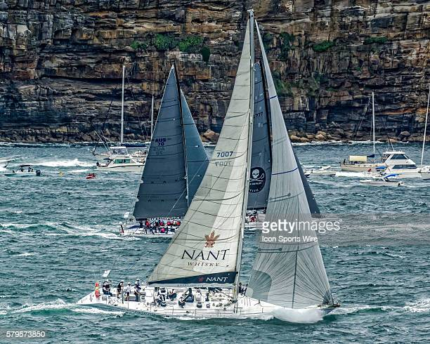 Yacht Maxi Ragamuffin passes Sydney Heads for open sea past Sydney Heads following the firing of the starting cannon at 100pm to start the Sydney to...