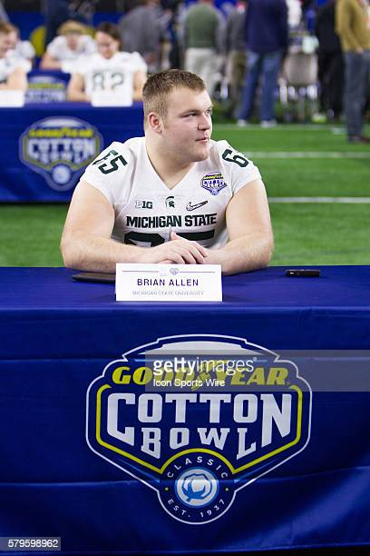 Michigan State Spartans offensive lineman Brian Allen during the NCAA Football Playoff Semifinal Cotton Bowl media day at ATT Stadium in Arlington,...