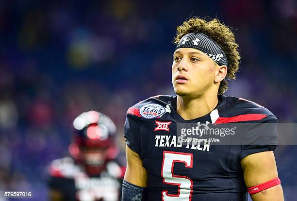 Texas Tech Red Raider quarterback Patrick Mahomes during the 2015 Advocare Texas Bowl featuring the LSU Tigers vs Texas Tech Red Raiders at NRG...