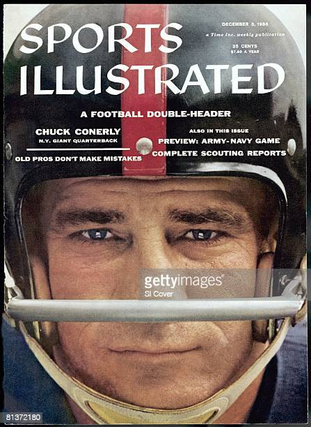 December 3 1956 Sports Illustrated Cover Football Closeup portrait of New York Giants QB Chuck Conerly New York NY