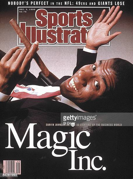 December 3 1990 Sports Illustrated Cover Basketball Casual portrait of Los Angeles Lakers Magic Johnson wearing suit and smoking cigar Los Angeles CA...