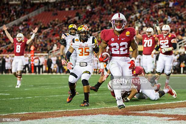 Stanford Cardinal running back Remound Wright reaches the end zone for the touchdown during the Foster Farms Bowl football game between the Stanford...
