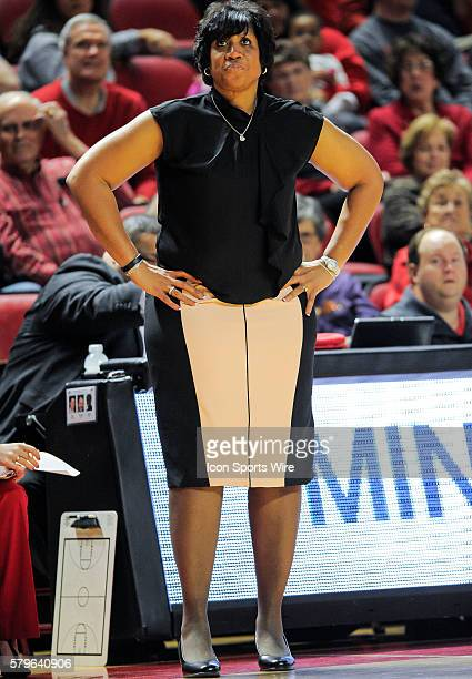 Western Kentucky Lady Toppers Head Coach Michelle Clark Heard stand with her hands on her hips during an college basketball game between the Marshall...