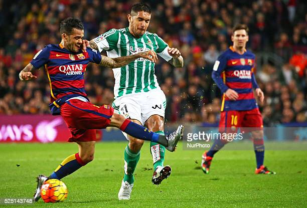 Dani Alves and Vargas during the martch between FC Barcelona and Betis corresponding to the week 17 of the spanish league played at the Camp Nou on...