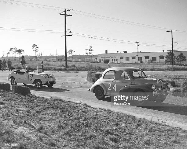December 31, 1950: The Morris Minor of J. W. Ferguson leads the Crosley Hot Shot of Fritz Koster and Bob Deschon during the Sam Collier Memorial...