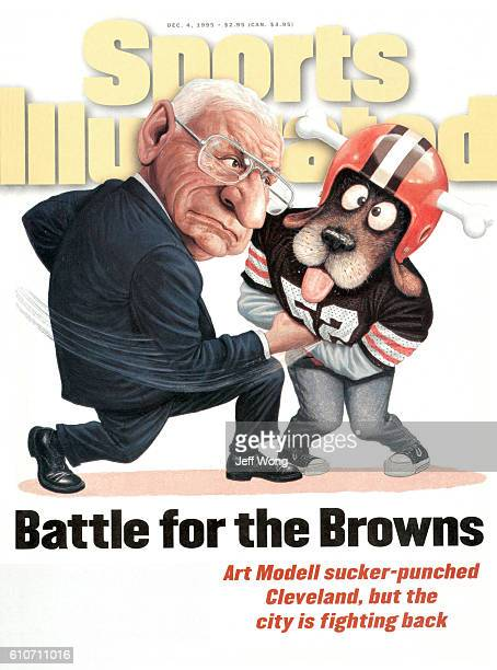 December 4 1995 Sports Illustrated via Getty Images Cover Cartoon illustration of Cleveland Browns owner Art Modell punching mascot Chomps after...