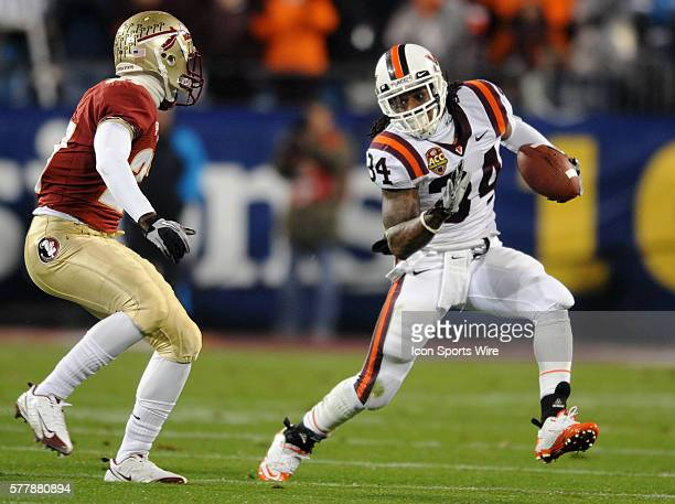 Virginia Tech running back Ryan Williams heads upfield during the first half of the Virginia Tech Hokies game against the the Florida State Seminoles...