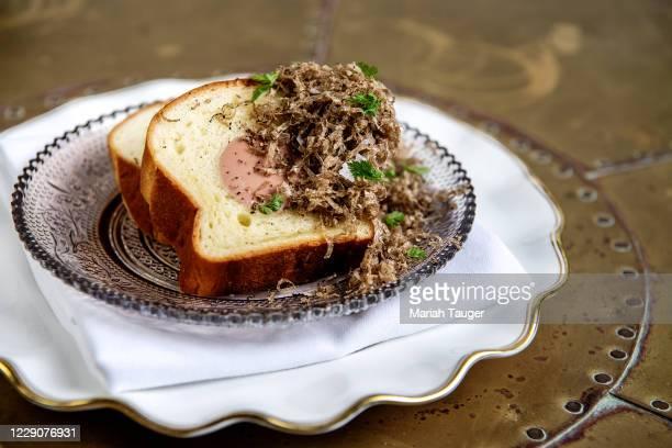 December, 4 2019: The foie de poulet à la Strasbourgeoise: chicken liver, brioche, truffle, from Pasjoli on Friday, December, 4 2019.