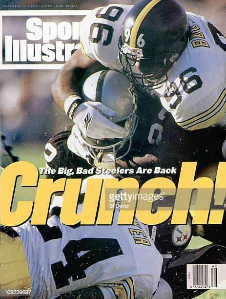 December 5 1994 Sports Illustrated via Getty Images CoverFootball Pittsburgh Steelers Brentson Buckner and Tim McKyer in action making tackle vs Los...