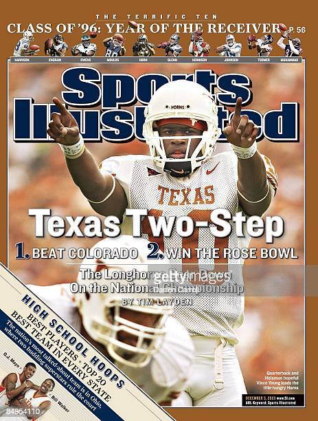 December 5 2005 Sports Illustrated Cover College Football Texas QB Vince Young calling signals before snap during game vs Texas AM College Station TX...