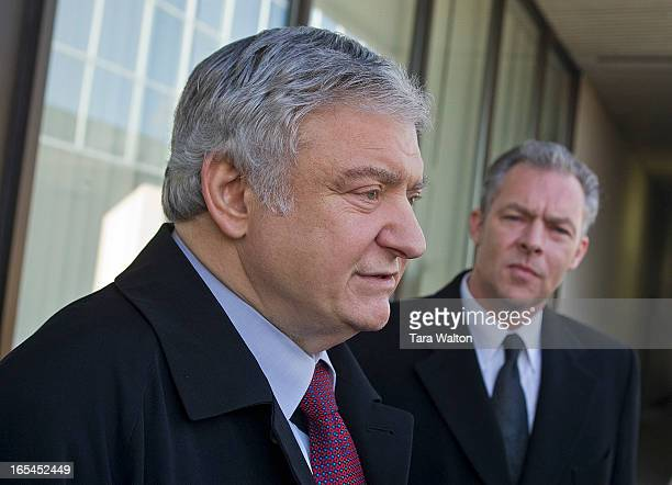 December 5, 2008--MARC S DREIER-Defence attorney Eddie Greenspan who is representing prominent New York City lawyer Marc Dreier talks with reporters...