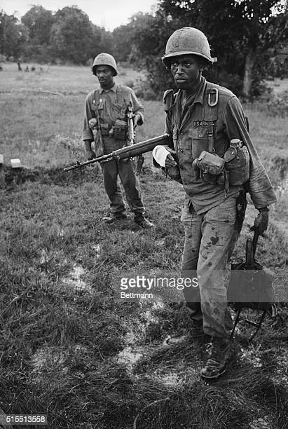 December 6 1965 Michelin Plantation South Vietnam Survivors of a Viet Cong ambush cover the dead and care for the wounded laid out along a narrow...