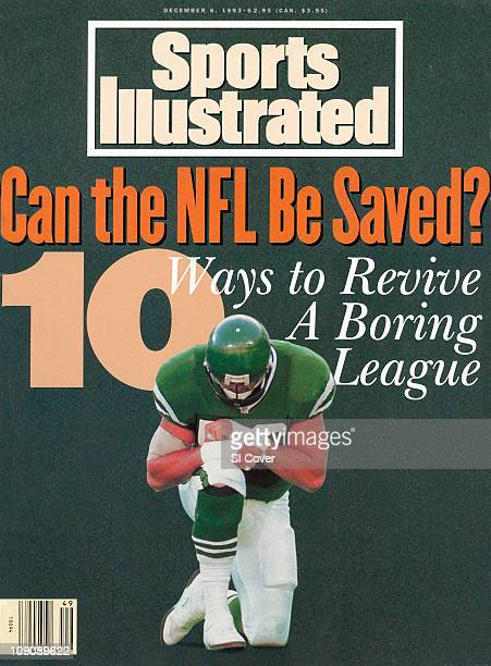 December 6 1993 Sports Illustrated CoverFootball New York Jets Jeff Lageman kneeling on field during game vs Buffalo Bills at The MeadowlandsEast...