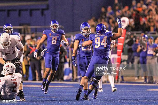 Boise State Broncos defensive end Sam McCaskill celebrates after a critical sack during 2nd half action in the Mountain West Conference Championship...