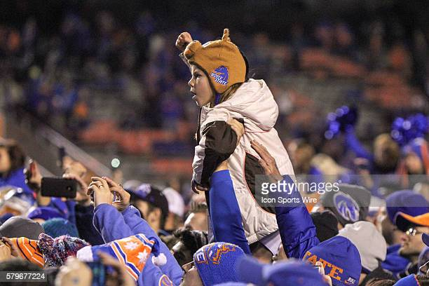 Boise State Broncos fan celebrating after the conclusion of the Mountain West Conference Championship game between the Fresno State Bulldogs and the...