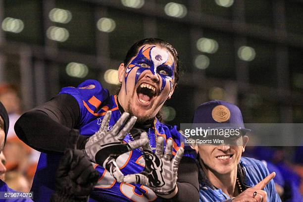 Boise State Broncos fan during 1st half action in the Mountain West Conference Championship between the Fresno State Bulldogs and the Boise State...