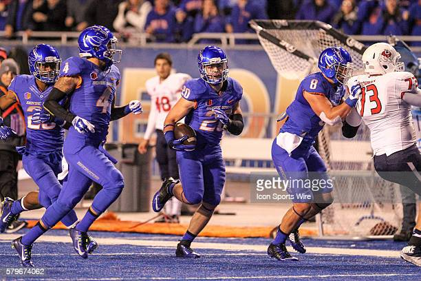 Boise State Broncos linebacker Tanner Vallejo running back an interception for a touchdown during 1st half action in the Mountain West Conference...