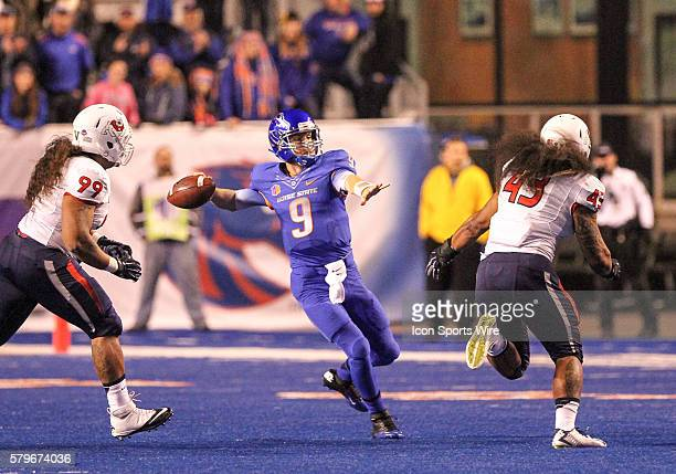 Boise State Broncos quarterback Grant Hedrick throwing during 1st half action in the Mountain West Conference Championship between the Fresno State...