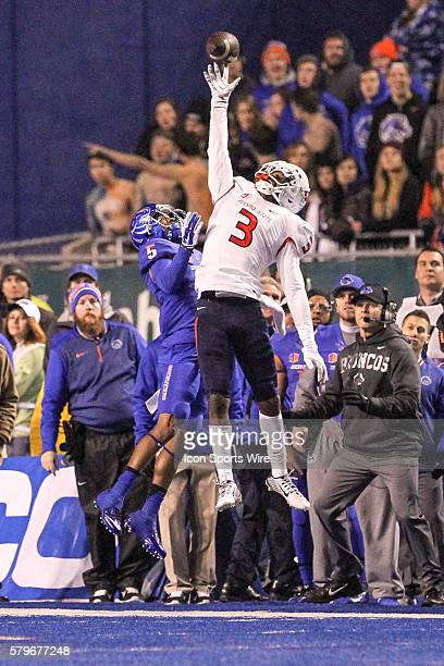 Fresno State Bulldogs wide receiver Josh Harper can't quite grab a sideling pass during 2nd half action in the Mountain West Conference Championship...